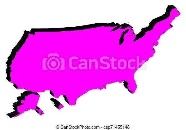 mappa, unito, silhouette, stati, vettore, america - csp71455148