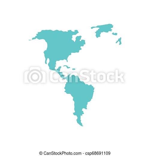 mappe, americano, silhouette, continente - csp68691109