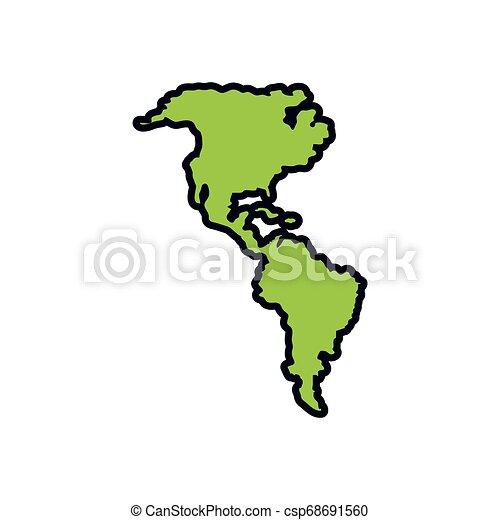 mappe, americano, silhouette, continente - csp68691560
