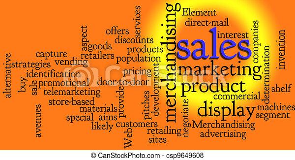marketing, parola, vendite, nuvola - csp9649608