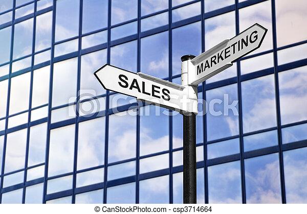 marketing, &, vendite, affari, signpost - csp3714664