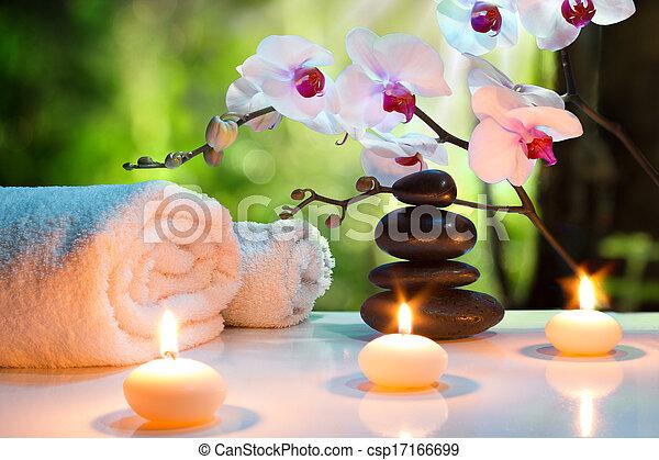 massaggio, candela, composizione, terme - csp17166699