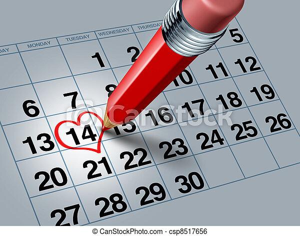 matita, calendario, rosso, valentina - csp8517656