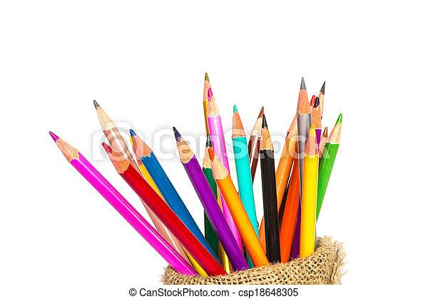 matite, colore, quaderno, sfondo bianco - csp18648305
