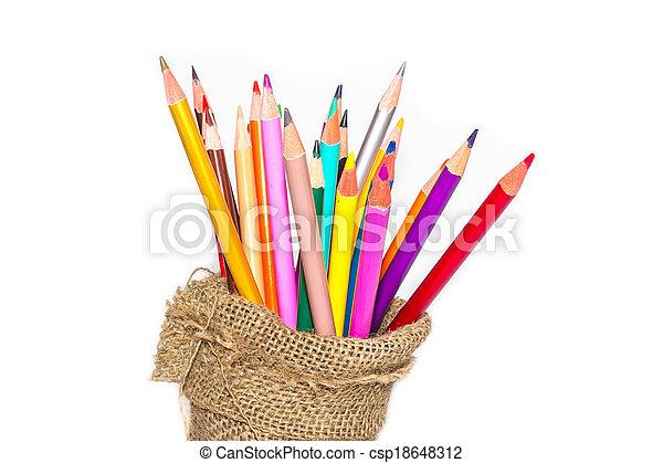 matite, colore, quaderno, sfondo bianco - csp18648312