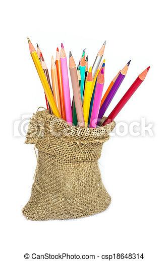 matite, colore, quaderno, sfondo bianco - csp18648314