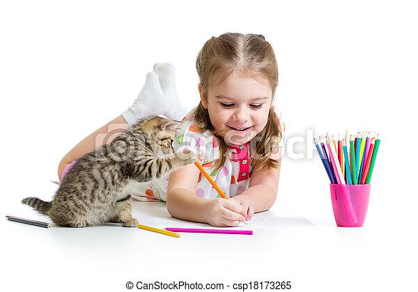 matite, gioco, gattino, ragazza, disegno, capretto - csp18173265