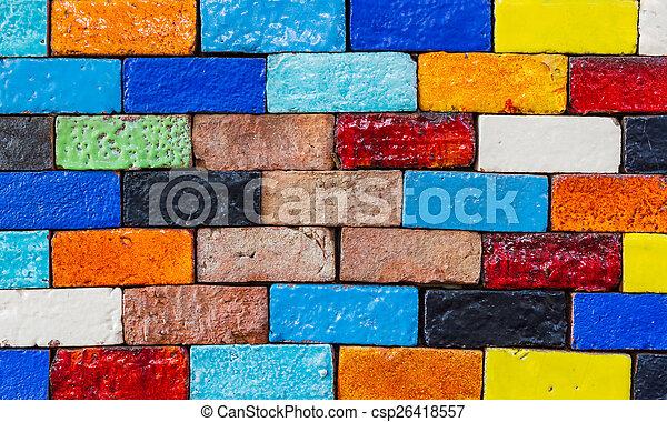 mattone, struttura, vecchio, parete, fondo., colorito - csp26418557