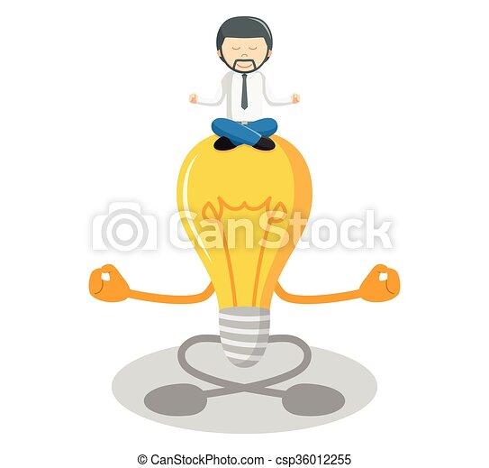 meditare, idea, uomo affari - csp36012255