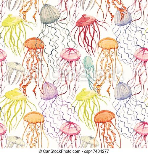 medusa, acquarello, modello, vettore - csp47404277
