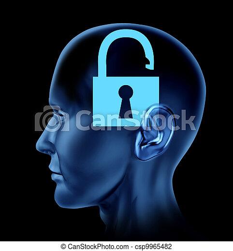 mente aperta, cervello umano - csp9965482