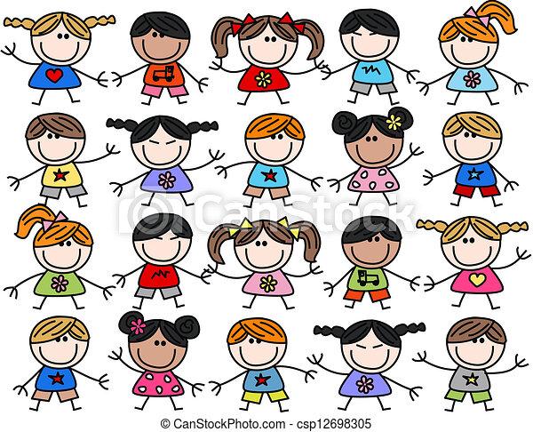 mescolato, bambini, bambini, etnico, felice - csp12698305