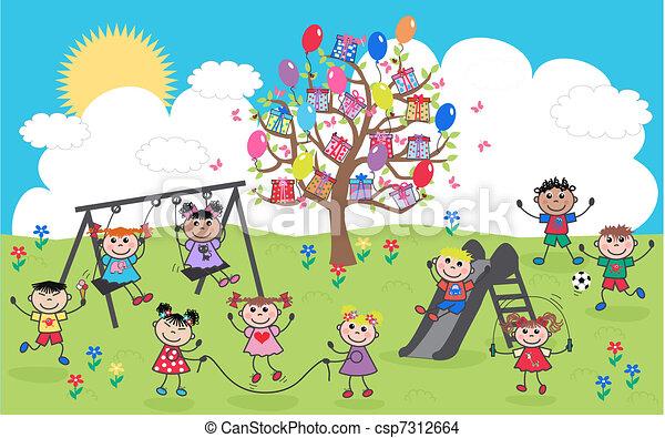 mescolato etnico, bambini, felice - csp7312664