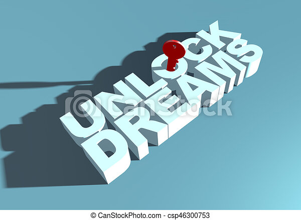 metafora, aspirazione, tipografia, aprire, chiave, fare un sogno - csp46300753