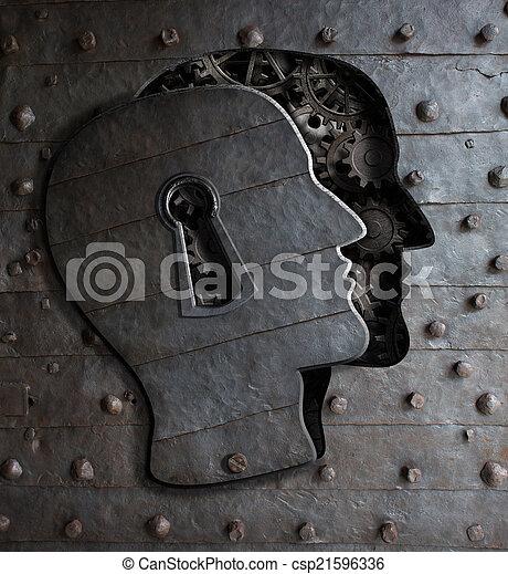 metallo, buco serratura, ingranaggi, cervello, porta, fatto, umano, concetto - csp21596336