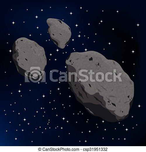 meteorite., illustrazione, vettore, asteroide - csp31951332