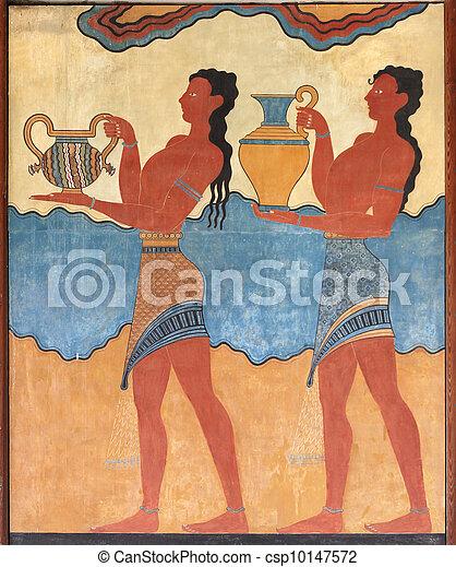 Minoan Figure Pittura Affresco Murale Parete Affresco Murale Minoan Figure Knossos Grecia Creta Pittura Canstock