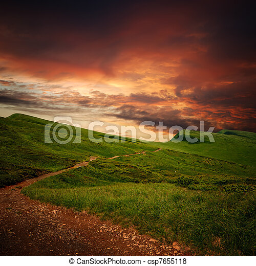 mistero, montagna, prato, attraverso, orizzonte, percorso - csp7655118