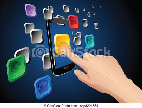 mobile, app, mano, toccante, nuvola, icona - csp8224554