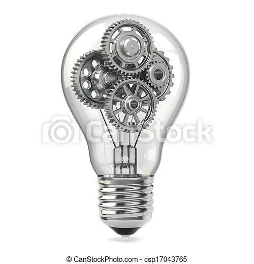mobile, concept., idea, perpetuum, lampada, gears., bulbo - csp17043765