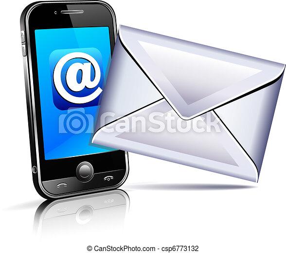 mobile, mandare, telefono, lettera, icona, 3d - csp6773132
