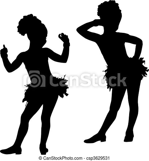 moda, silhouette, bambini - csp3629531