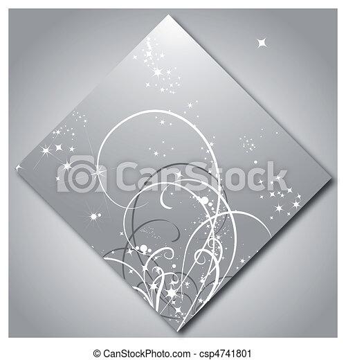 modello, lucente, stelle, fondo, argento - csp4741801