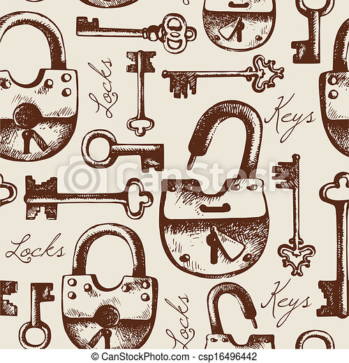modello, seamless, serrature, chiavi, vendemmia, mano, disegnato - csp16496442
