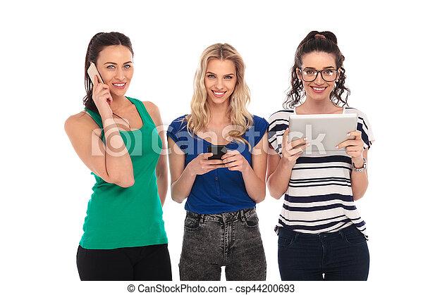 modi, donne, differente, felice, comunicare - csp44200693