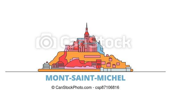 mondo, cityscape, francia, oultine, punto di riferimento, viaggiare, santo, michel, baia, mont, linea, appartamento, vector., città, illustrazione, relativo, icone - csp87106816
