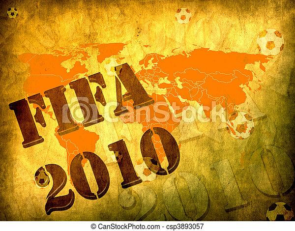 mondo, concetto, 2010, football, tazza - csp3893057