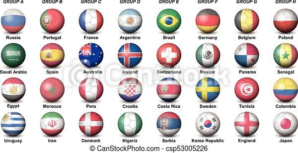 mondo, palle, paesi, tazza, football, finale, torneo, 2018, calcio, bandiere - csp53005226