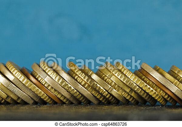 monete, accatastato, lato, euro - csp64863726