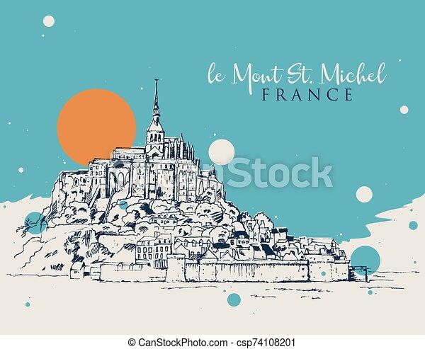 mont, schizzo, illustrazione, michel, disegno, santo, le - csp74108201