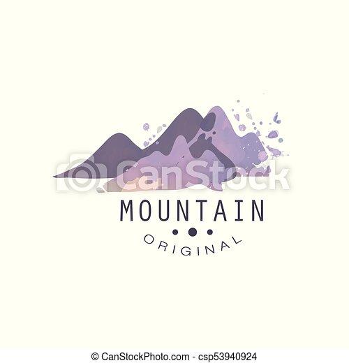 montagna, esterno, regione selvaggia, andando gita, avventure, illustrazione, emblema, vettore, turismo, distintivo, originale, logotipo, retro - csp53940924