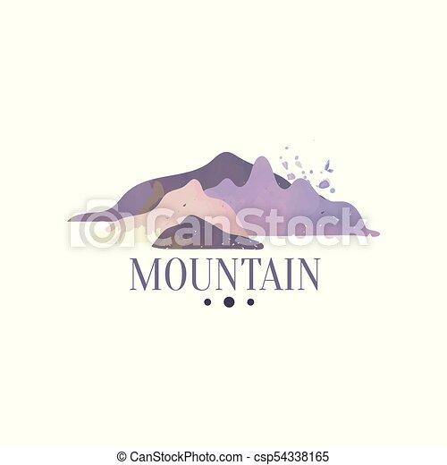 montagna, esterno, regione selvaggia, andando gita, avventure, illustrazione, emblema, vettore, turismo, distintivo, logotipo, retro - csp54338165