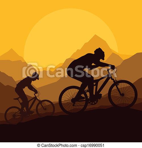 montagna, natura, bicicletta, vettore, selvatico, cavalieri - csp16990051