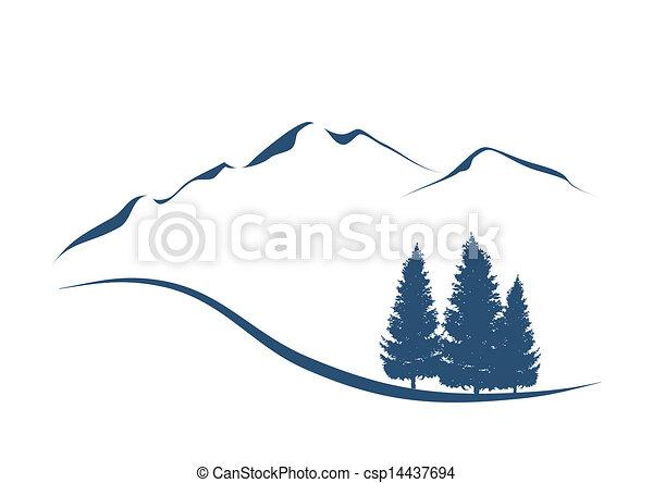 montagne, esposizione, illustrazione, stilizzato, abeti, paesaggio, alpino - csp14437694