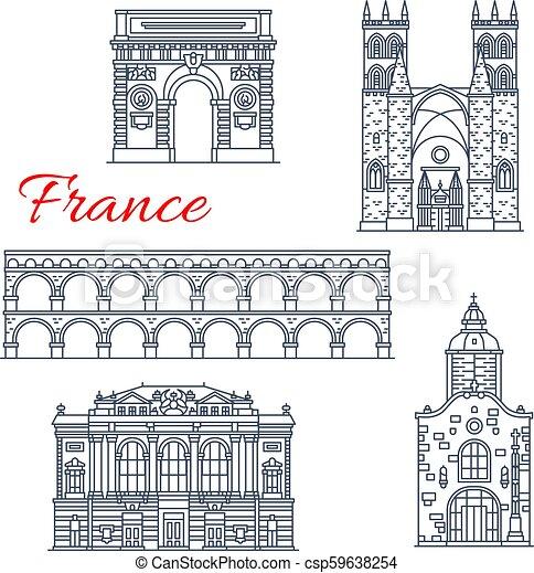 montpellier, francia, vettore, icone, architettura - csp59638254