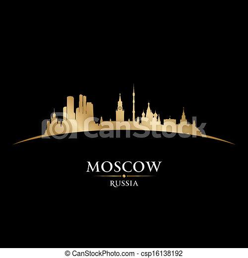 mosca, nero, russia, fondo, orizzonte, città, silhouette - csp16138192