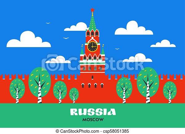 mosca, russo, punto di riferimento, quadrato, torre, russia., style., cremlino, mosca, spasskaya, nazionale, appartamento, rosso, kremlin. - csp58051385