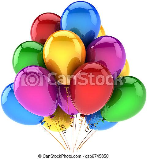 multicolor, compleanno, palloni, felice - csp6745850