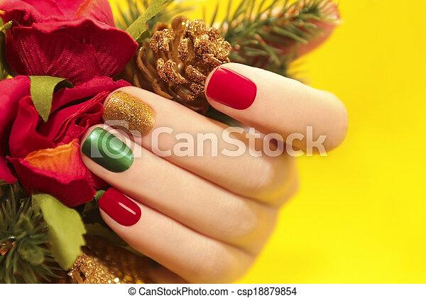 multicolor, manicure. - csp18879854