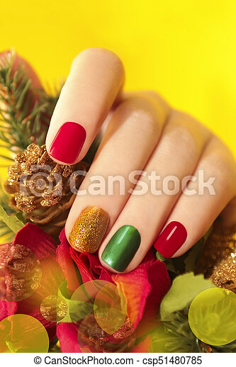 multicolor, manicure. - csp51480785