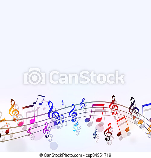 multicolor, note musica - csp34351719