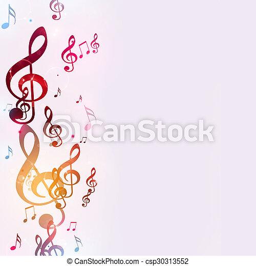 multicolor, note, musica, luminoso - csp30313552