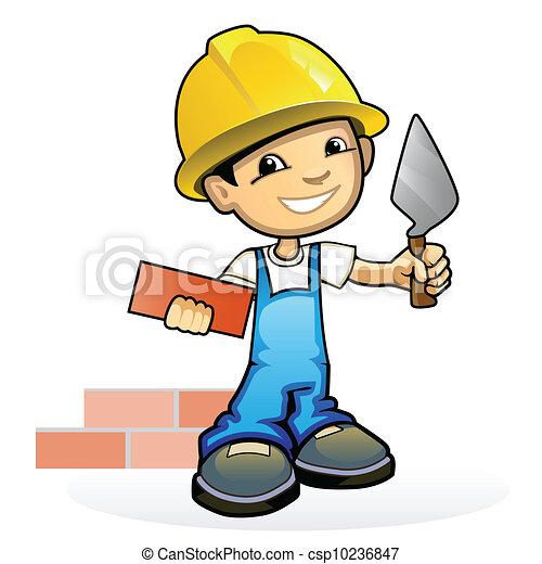 muratore, cazzuola, giovane - csp10236847