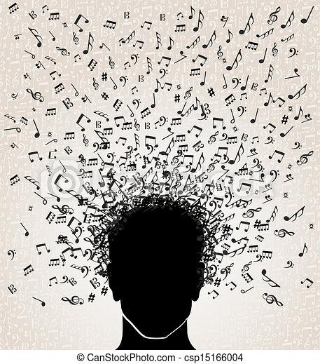 musica, testa, disegno, note, fuori - csp15166004