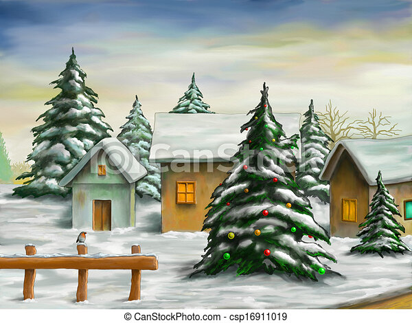 Disegni Paesaggi Di Natale.Natale Paesaggio Paesaggio Illustration Nevoso Villaggio Digitale Piccolo Natale Canstock
