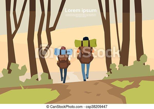 natura, coppia, zaino, fondo, viaggiatore, escursionisti, vista posteriore - csp38209447